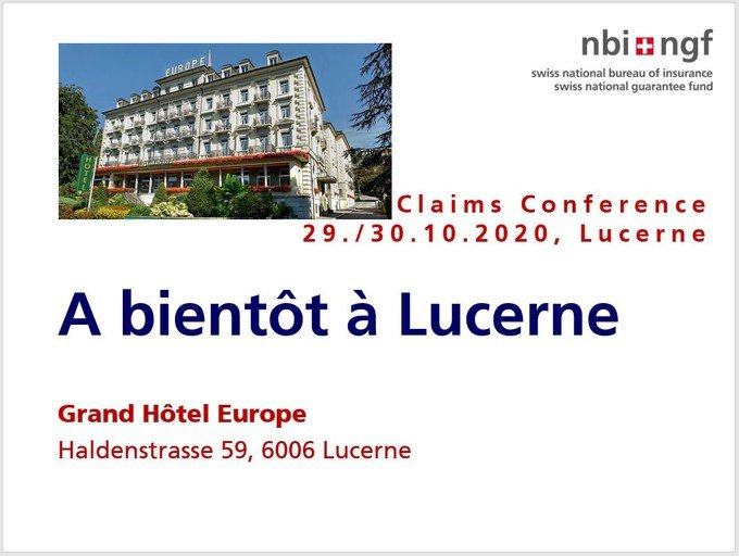 Claims Conference 29./30. Octobre 2020 Lucerne